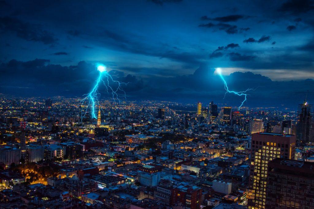 storm over a city